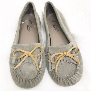 Lucky Brand Leather Suede Gray Moccasin Size 6